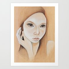 Self Portrait on Wood Art Print