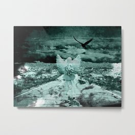 Teal Angel Road Surreal Landscape Black Bird Crow Art A548 Metal Print