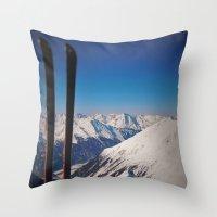 ski Throw Pillows featuring ski by ViiGlory