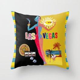 Loving Las Vegas | vintage black & gold Throw Pillow