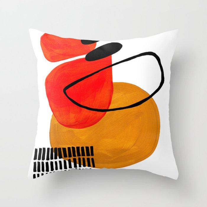 Mid Century Modern Abstract Vintage Pop Art Space Age Pattern Orange Yellow Black Orbit Accent Deko-Kissen