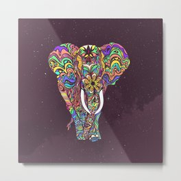 psychedelic elephant -e Metal Print