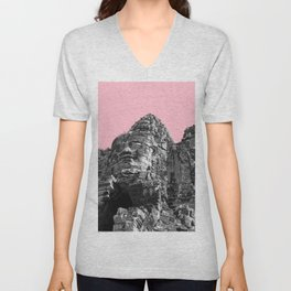 Part of Angkor Wat with pink Unisex V-Neck