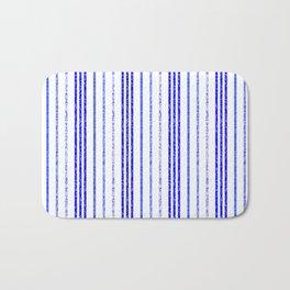 Thin Blue Speckled Vertical Line Pattern Bath Mat