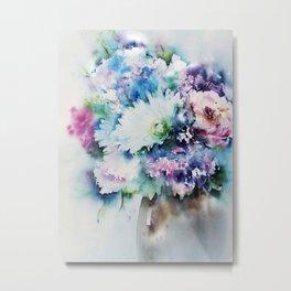Still Life Rose Bouquet Watercolour Metal Print
