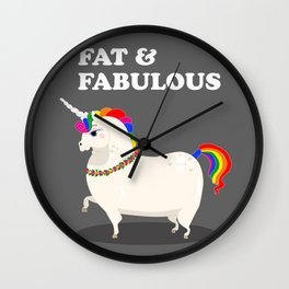 Fat unicorn with rainbow mane and flowers Wall Clock