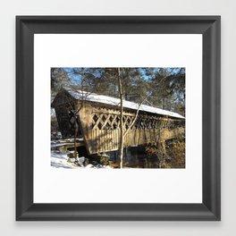 Snow Covered Bridge Framed Art Print