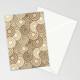 Geometric Mid Century Modern Burlap Circles Stationery Cards