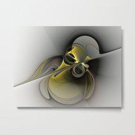 Abstract, Golden Gray Fractal Art Metal Print