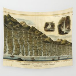 Vintage Print - A Comparative View of the Lengths of the Principal Rivers of Scotland (1822) Wall Tapestry