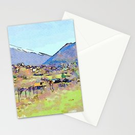 Camerata Nuova: landscape with village and mountains Stationery Cards
