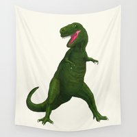 t rex Wall Tapestries featuring T Rex by Lydia Meiying