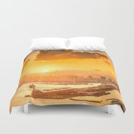 warm color tone orange sunset over hong kong urban city skyline at seafront Duvet Cover