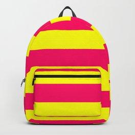 Bright Neon Pink and Yellow Horizontal Cabana Tent Stripes Rucksack