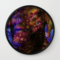 lab Wall Clocks featuring Chocolate Lab by Roger Wedegis