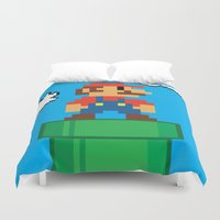 mario Duvet Covers featuring Mario Bros by WaXaVeJu