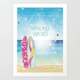 Making Waves - Sunset Art Print