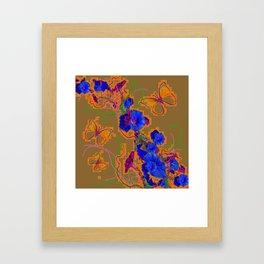 Modern Butterflies  Royal Blue Morning Glory Pattern Art Framed Art Print