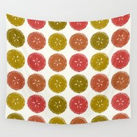 pie Wall Tapestries featuring Autumn pie flower dots by Sharon Turner