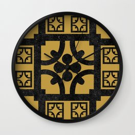 Traditional Yellow English Tudor Half-timbered House Pattern Wall Clock