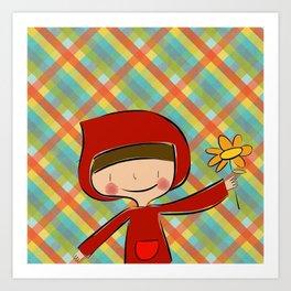 Caperucita Roja con flor Art Print