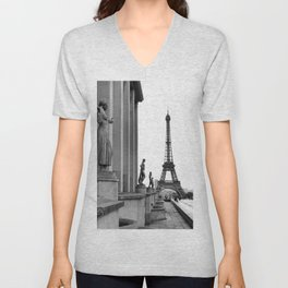 Trocadero Eiffel Tower Paris Unisex V-Neck