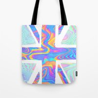 hologram Tote Bags featuring Holographic Union Jack  by Berberism