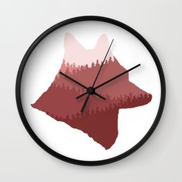 Wolf Mountains (Red) Wall Clock