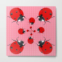 Ladybug insects pattern Metal Print