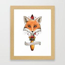Fox & dagger tattoo style and pun Framed Art Print