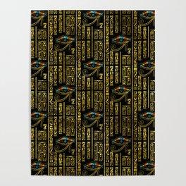 Eye of Horus and Egyptian hieroglyphs pattern Poster