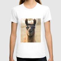 llama T-shirts featuring LLAMA by Julie Zhang