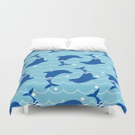 Dolphins on the Sea Wave_E02 Duvet Cover