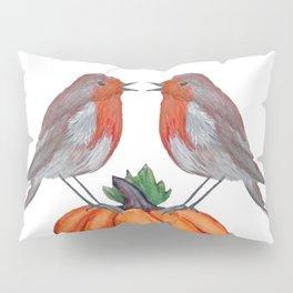 Robins and pumpkin watercolor art Pillow Sham