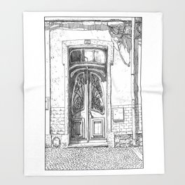 Old Door-Urban Landscape-Victorian illustration style-Lisbon-Portugal Throw Blanket