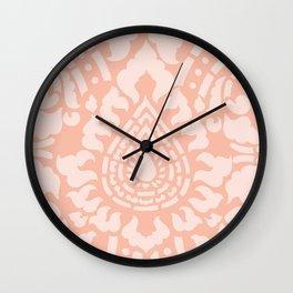 Peach Damask Pattern Wall Clock