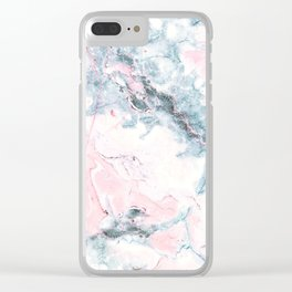 Blue and Pink Marble Clear iPhone Case