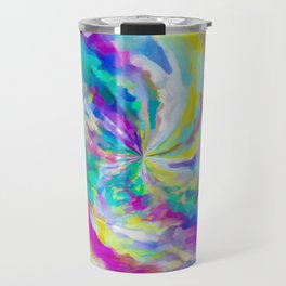 colorful splash painting abstract in pink green blue yellow Travel Mug