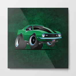 Classic American Muscle Car Cartoon Metal Print