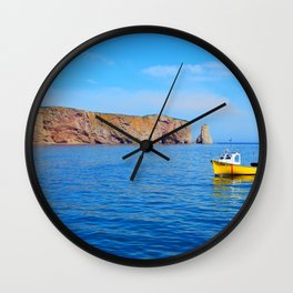 The Rock and the Yellow Boat Wall Clock