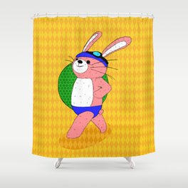 Let's Go To A Pool (bunny) Shower Curtain