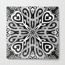 Black+White Ornate Hearts Metal Print