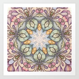 vintage flowers hand drawn and  kaleidoscope mandala Art Print
