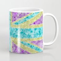 union jack Mugs featuring Floral Union Jack by Alice Gosling