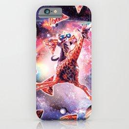 Thug Space Cat On Giraffe Unicorn - Pizza iPhone Case