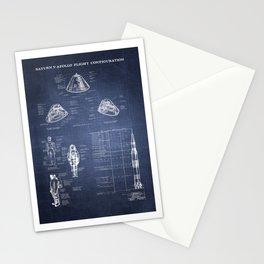 Apollo 11 Saturn V Command Module Blueprint in High Resolution (dark blue) Stationery Cards