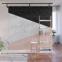 Patchwork pink and marble Wall Mural