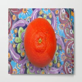 tangerine on a plate Metal Print