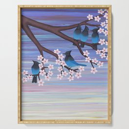Steller's jays and cherry blossoms Serving Tray