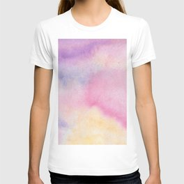 Abstract artistic hand painted pink lavender watercolor T-shirt